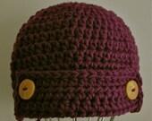 Crochet Button Flap Jack Hat - Fits Toddler/Child's Hat/ Beanie