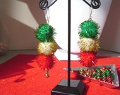 Christmas Earrings Dangles Pompoms w Red Green Gold Tinsel // 375