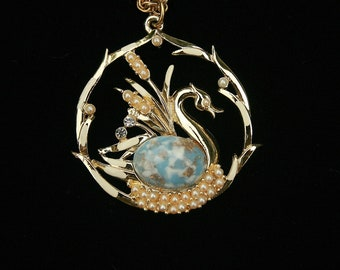 Vintage Swan Pendant Necklace Faux Pearls Any Occasion