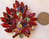 Vintage Red Statement Brooch by CJW