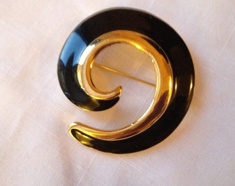 Vintage Monet Gold and Black Swirl Brooch by CJW