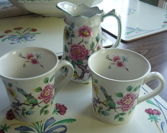 Very Rare James Kent Old Foley Chinese Rose Set of 2 Mugs with Pitcher