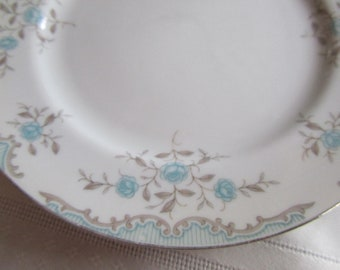 Set of 3 Narumi Salad,  Luncheon Plates in the Phoebe Pattern, Aqua Blue Roses