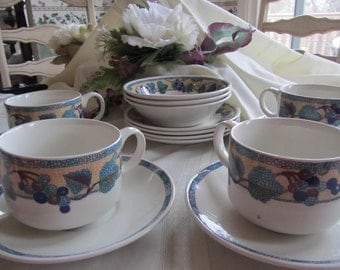 Grape Mosaic Breakfast Set by Johnson Brothers of England, Transferware