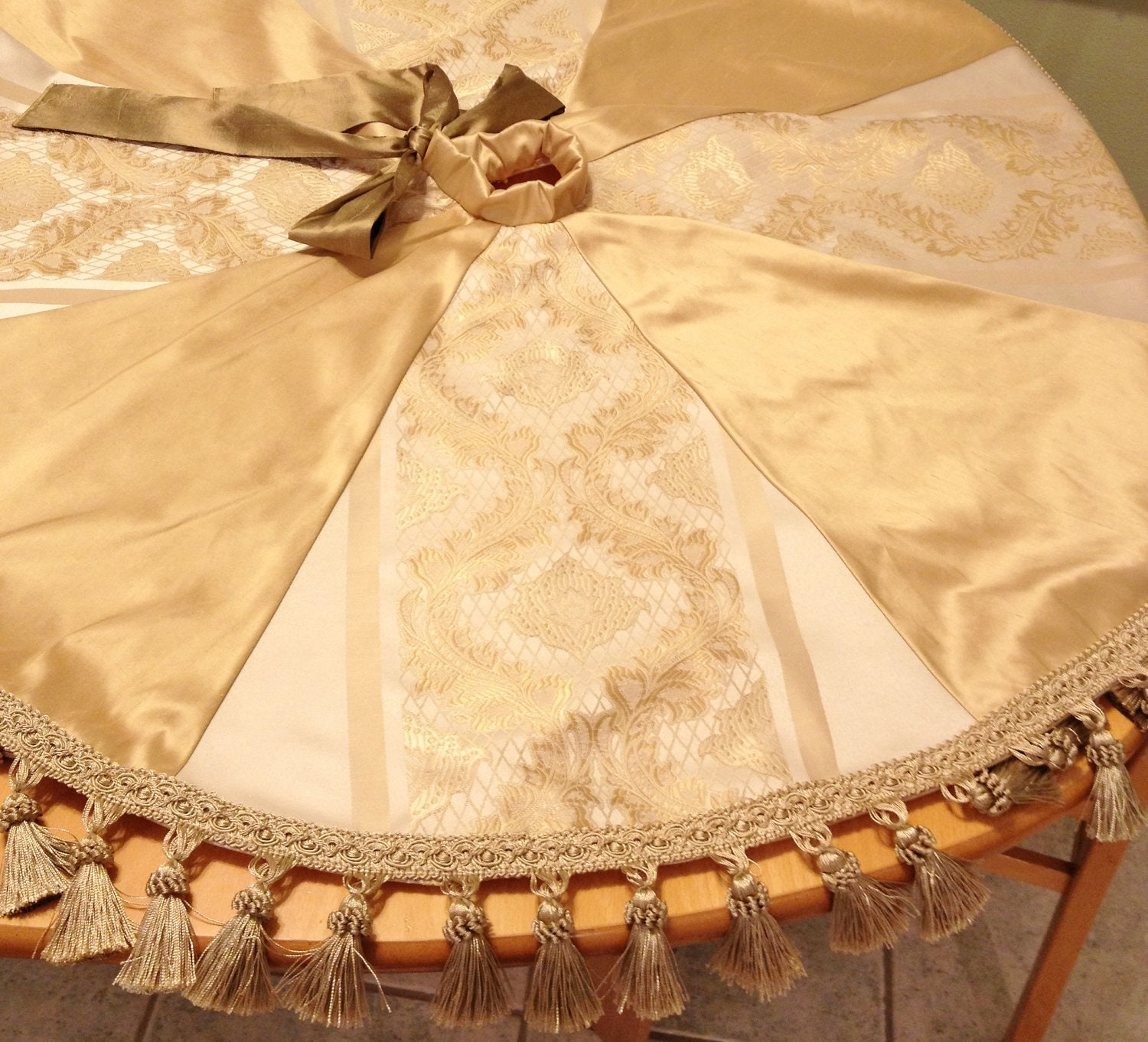 Silk christmas tree skirt cream and gold by refinedconcepts