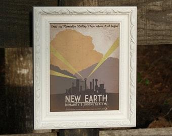 Retro Sci-fi New Earth Travel Poster  - 8x10 Print