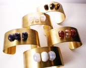Vintage OOAK Blue Lace Agate Brass Cuff - Urban Bohemian Brass Bracelet, Gift for her, Gift Under USD50