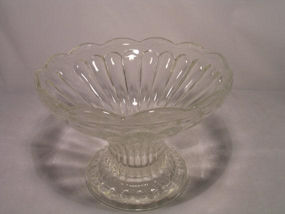 Items similar to vintage clear glass pedestal fruit bowl