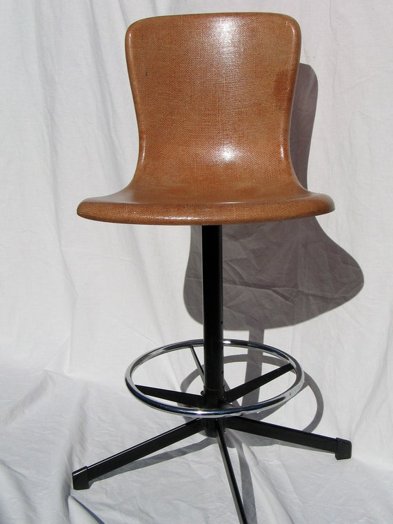 Hamilton Cosco Retro Fiberglass Shell Swivel Bar Stool Eames