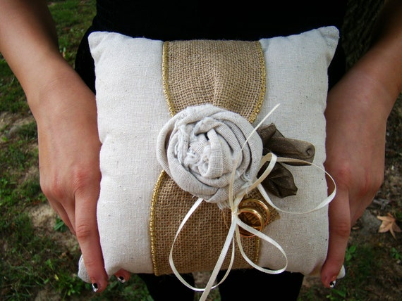Rustic Ring Pillow, Ring Bearer, Ringbearer, Rustic Wedding, Home Decor, Natural