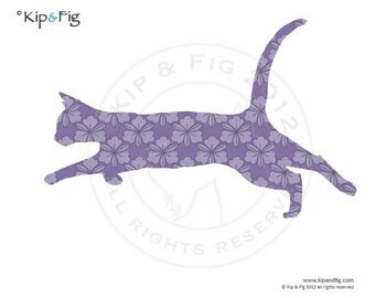 Cat applique template - pdf applique pattern silhouette - also use for stenciling