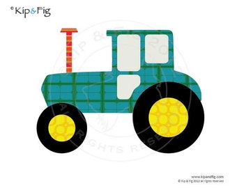 Tractor applique template - PDF applique pattern