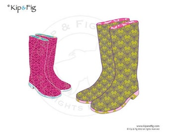 Wellie boots applique template - PDF applique pattern