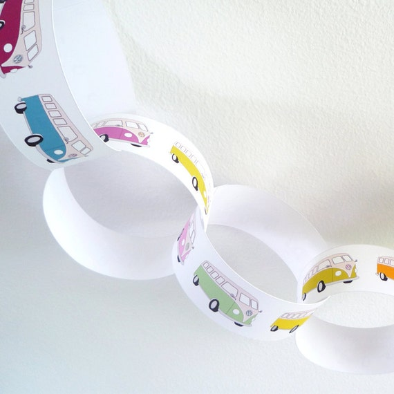 VW camper van paper chain garland - PDF printable party decorations