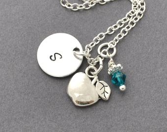 Apple Necklace, Birthstone Initial Necklace, Monogram,Necklace, woodland Jewelry, nature