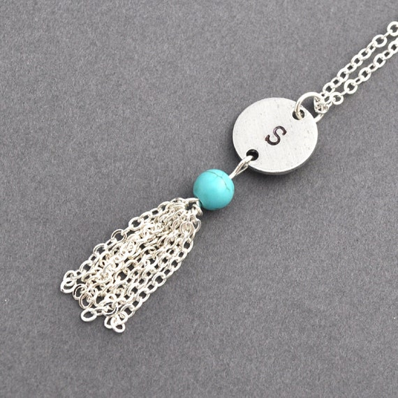 Initial Tassel necklace, Turquoise necklace, monogram, unique Jewelry, Cute Small Tassel Jewelry
