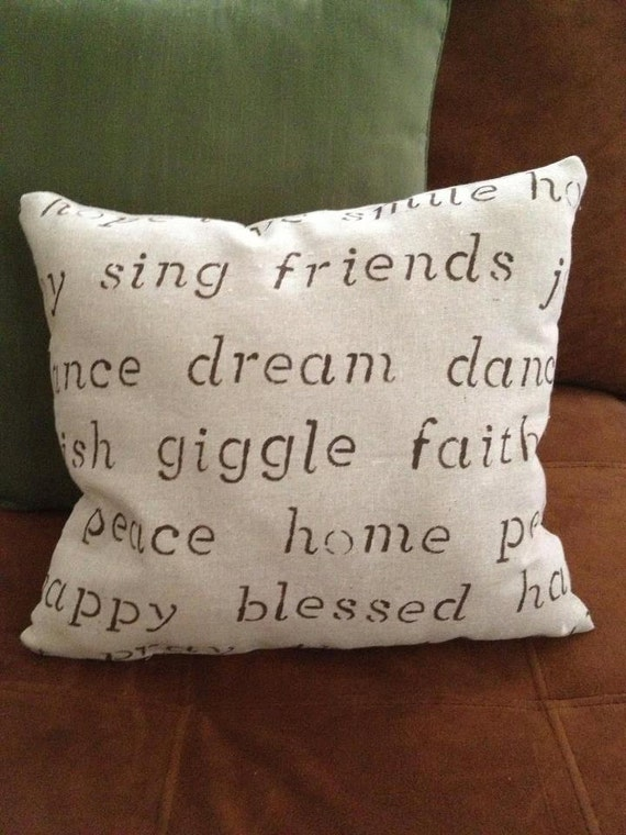 Throw Pillow With The Word Home On It : Items similar to Word pillow- use the words shown or customize with your favorite words ...
