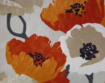 Orange Floral Fabric - Modern Orange Fabric by the Yard - Modern Floral Drapery Fabric - Orange Ivory Fabric Yardage