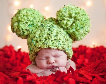 Christmas Baby Hat Newborn Baby Girl Hat Newborn Baby Boy Hat Crochet Pom Pom Hat Mouse Animal Ear Lime Green Photo Prop Photography Prop