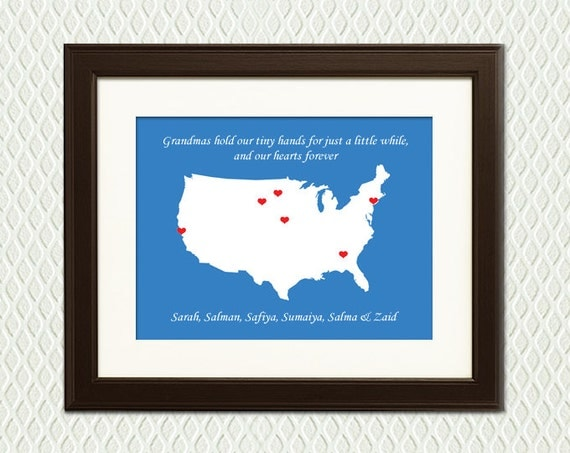 Personalized Christmas Gift for GRANDMOTHER, GRANDMA, or MOM -  Hearts on a map for each of her children or grandchildren