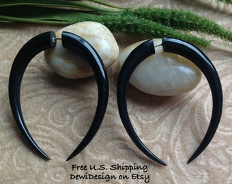 """Fake Gauge Earrings, """"XL Pinchers"""" Naturally Organic, Horn, Hand Carved, Tribal"""