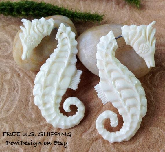 """HUGE SALE: Fake Gauge Earrings, """"Seahorse"""" Naturally Organic, Bone, Hand Carved, Tribal"""