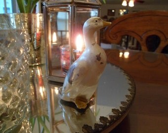 White Metal Painted Duck