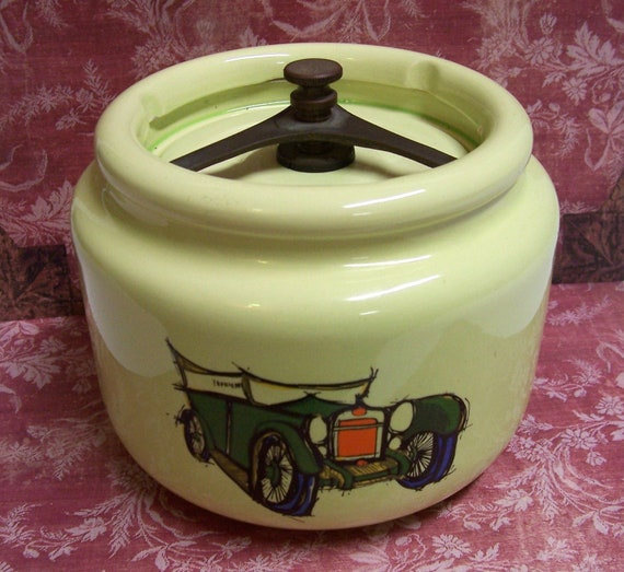 Vintage Deco Tobacco Jar Porcelain Ceramic C 1940 50s