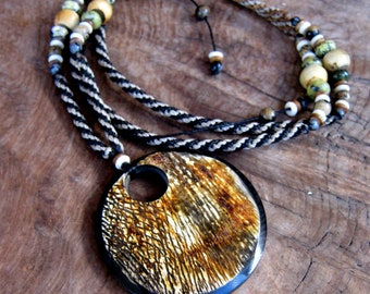 Exotic Beaded Horn Macrame Necklace- Long