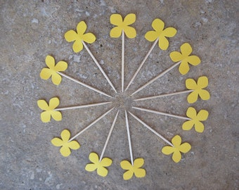 12 Party Picks Cupcake Toppers Yellow Hydrangea, Appetizer Picks, Flower Topper, Yellow Flower, Flower Petal Party pick, Yellow Flower Party