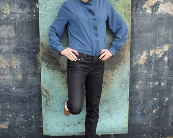 Rock and Shoal Stone Blue Blouse