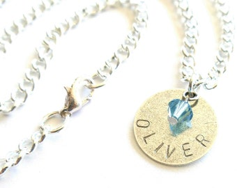 personalized necklace // hand stamped jewelry // antiqued silver
