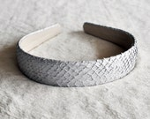 White Genuine Fish skin leather headband for women and girls, handmade in Iceland and ready to ship