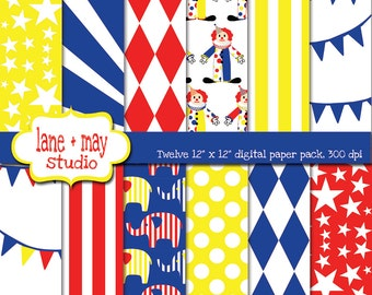 digital scrapbook papers - red, blue and yellow circus theme patterns 1 - INSTANT DOWNLOAD