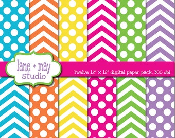 digital scrapbook papers - bright rainbow polka dot and chevron patterns - INSTANT DOWNLOAD