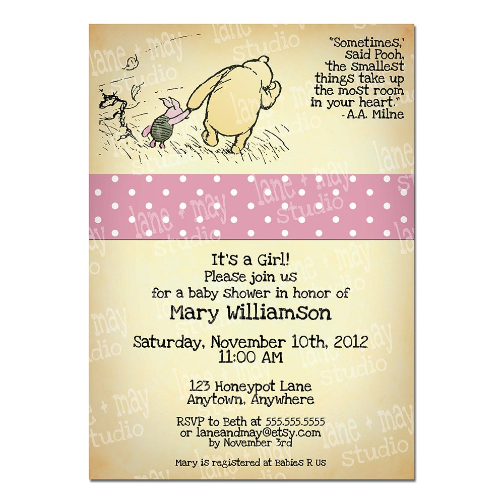 Winnie The Pooh Templates For Baby Shower: Classic Winnie The Pooh Digital / Print At Home By Laneandmay