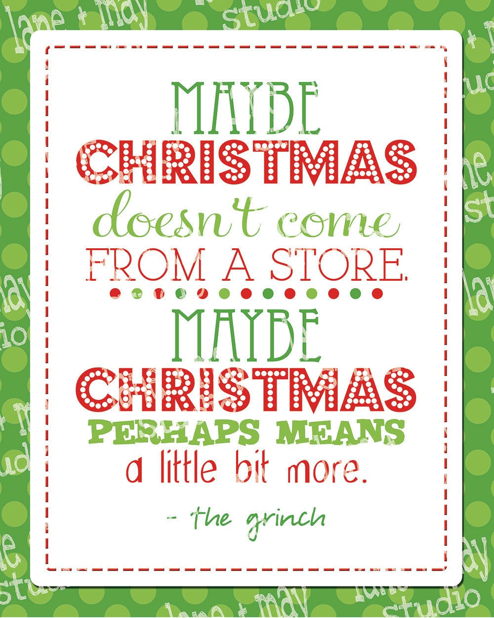 Christmas Grinch Quote 8 X 10 Digital Print INSTANT By