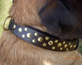 Large Leather Dog Collar, double black leather for big dogs, XL, XXL