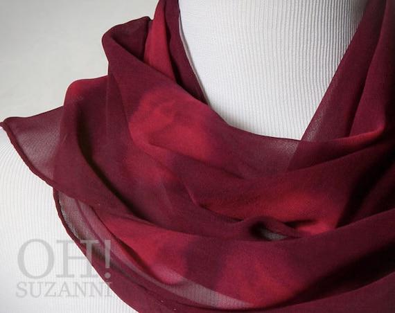 Handmade Scarf in Shibori Dyed Wine and Rose Floral Silk Chiffon. Handmade Fall Fashion Scarf.