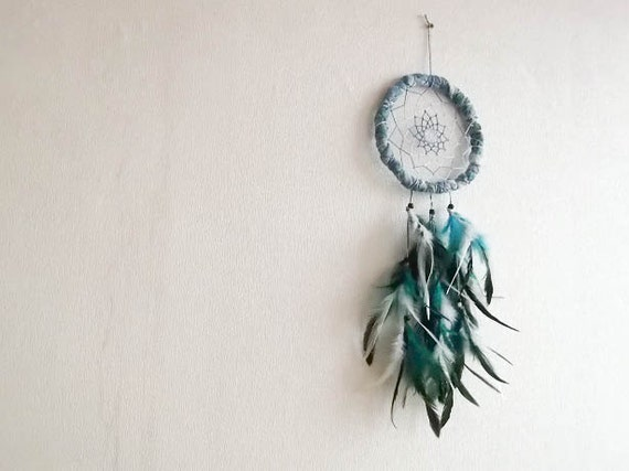 Dream Catcher - Sister Of The Night - With Turquoise and White Feathers, Transitional Blue Nett and Hand Dyed Frame - Home Decor, Mobile