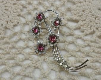 Pink Rhinestone Five Flower Pin Silver Tone No Mark 1960s Vintage Brooch mod fashion