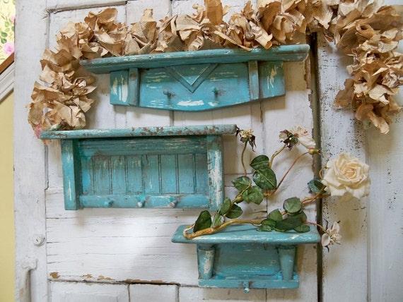 Hand painted aqua recycled wooden shelf set beach cottage wall decor hand made Anita Spero