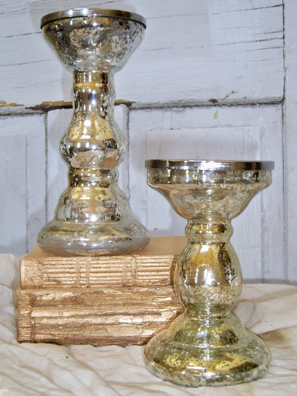 Vintage Silver Mercury Glass Candle Holders Chunky Christmas