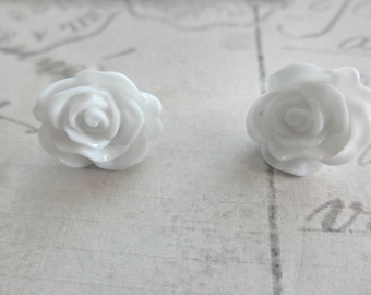 White Rose Flower Post Stud Earrings
