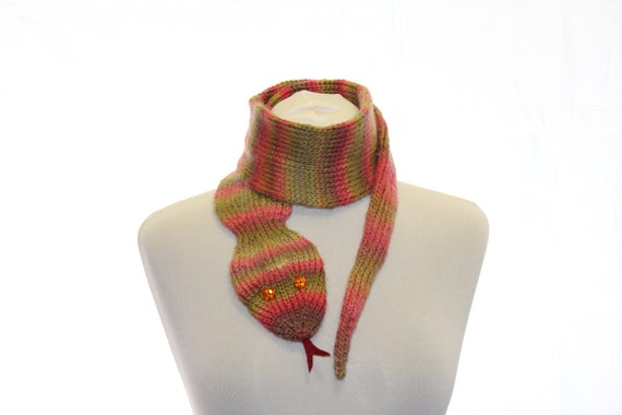 Snake Scarf / Scarf Hand Knit / Multicolor / Hand-knitted shades green and pink scarf / symbol 2013 / Ready To Ship / gift under 45
