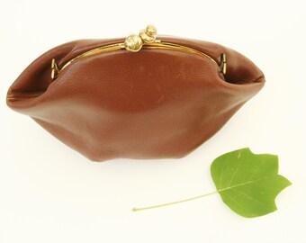 Vintage 1940's leather purse, brown leather vintage clutch
