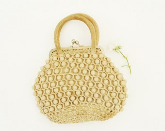 Vintage 1960s purse, knitted handbag with plastic beads, doll purse