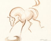 "Horse Art, Original Watercolor Painting by Anna Noelle Rockwell-Playing Foal, ""Reflections"""