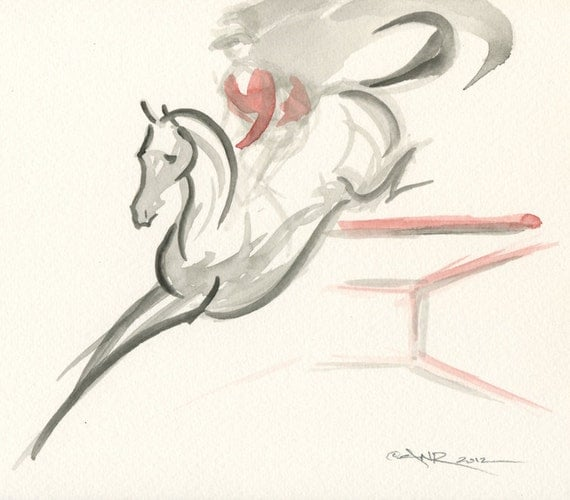 """2012 Olympic Equestrian Horse Art Original Watercolor Painting, Show Jumping Horse by Anna Noelle Rockwell, unframed-""""The Red Fence"""""""