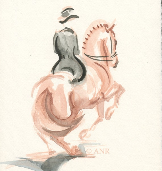"""2012 Olympic Horse Art Original Watercolor Painting, Dressage Horse by Anna Noelle Rockwell, unframed-""""Parzival's Piroutte"""""""